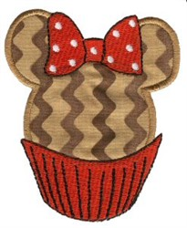 Mouse Ears Cupcake Applique embroidery design