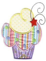 Rainbow Cupcake Applique embroidery design