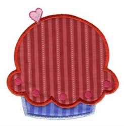 Stripped Cupcake Applique embroidery design