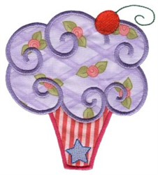Floral Cupcake Applique embroidery design