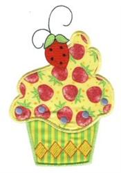 Strawberry Cupcake Applique embroidery design