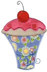 Cherry Cupcake Applique embroidery design
