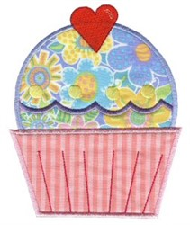 Valentines Day Cupcake Applique embroidery design