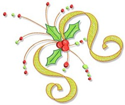 Christmas Doodads Holly Corner embroidery design