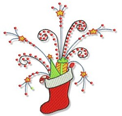 Christmas Doodads Stocking embroidery design