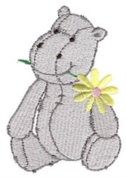 Hippo & Flower embroidery design