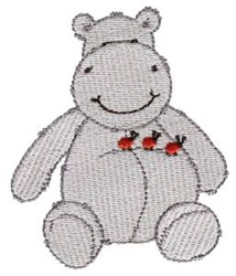 Hippo & Ladybugs embroidery design