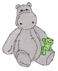 Hippo & Frog embroidery design