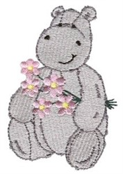 Hippo & Flowers embroidery design