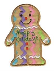 Christmas Gingerbread Man Applique embroidery design