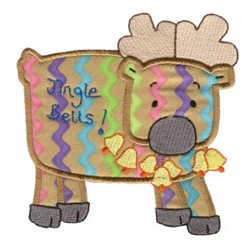 Christmas Applique Reindeer embroidery design