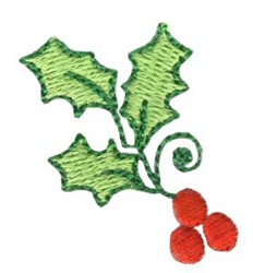 Christmas Mini Holly embroidery design