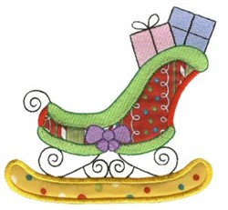 Christmas Sleigh Applique embroidery design