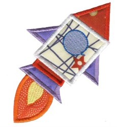 Rocket Ship On The Move Applique embroidery design