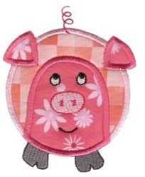 Roundys Pig Applique embroidery design