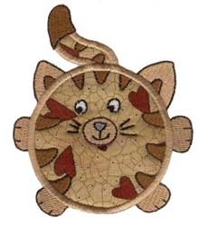 Roundys Cat Applique embroidery design