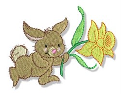 Easter Parade Daffodil Rabbit embroidery design