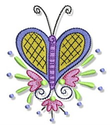 Swirly Spring Butterfly embroidery design