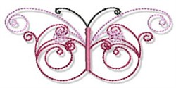 Swirly Butterfly embroidery design