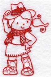 Kids Of The World Cowgirl Redwork embroidery design