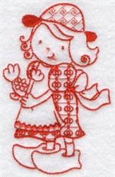 Kids Of The World Dutch Redwork embroidery design