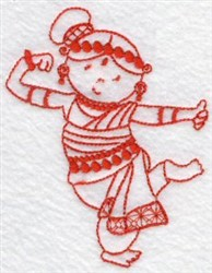 Kids Of The World Indian Redwork embroidery design