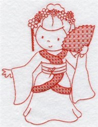 Kids Of The World Japanese Redwork embroidery design