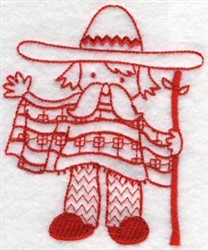 Kids Of The World Mexican Redwork embroidery design