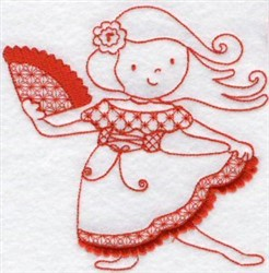 Kids Of The World Spanish Redwork embroidery design