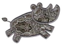 Jungle Daze Rhino Applique embroidery design