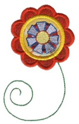 Red Doodle Flower Applique embroidery design