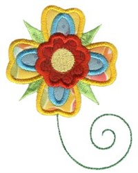 Yellow Doodle Flower Applique embroidery design