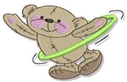 Hula Hooping Teddy Bear embroidery design