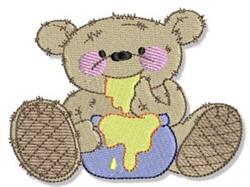 Honey Eating Teddy Bear embroidery design