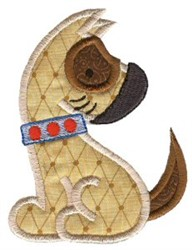 Sweet Sitting Puppy Applique embroidery design