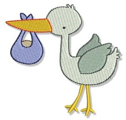 Stork & Baby embroidery design
