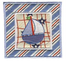 Nautical Applique Sailboat Block embroidery design