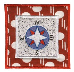 Nautical Applique Compass Block embroidery design