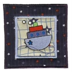 Nautical Applique Tugboat Block embroidery design