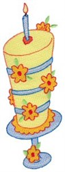 Floral Birthday Cake embroidery design