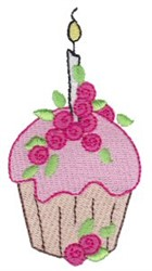 Floral Birthday Cupcake embroidery design