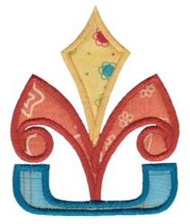 Geometric Applique Fleur De Lis embroidery design