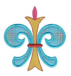 Blue Applique Fleur De Lis embroidery design