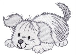 Playing Puppy embroidery design