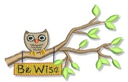 Earth Day Owl embroidery design