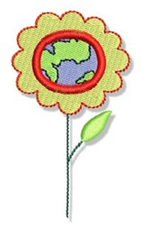 Earth Day Globe Flower embroidery design