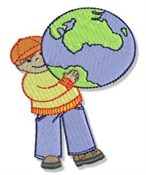 Earth Day Child embroidery design