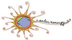 Earth Day Solar Energy embroidery design