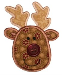 Button Nose  Reindeer Applique embroidery design