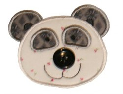 Button Nose Panda Applique embroidery design